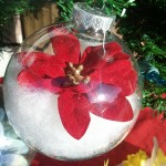 Poinsetta in &quot;Snow&quot; Ornament
